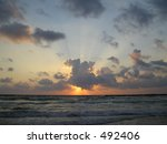 Sunset as seen from the beaches of Tel Aviv - stock photo