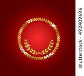 gold laurel wreath. symbol of... | Shutterstock .eps vector #492409696