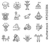 circus show icons set  line... | Shutterstock .eps vector #492410386