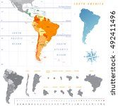 south america map with each... | Shutterstock .eps vector #492411496