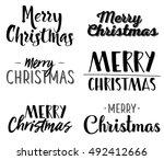 merry christmas   six unique... | Shutterstock .eps vector #492412666