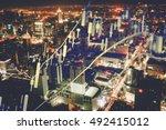 double exposure of business... | Shutterstock . vector #492415012