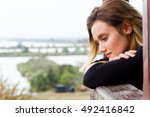 young blonde woman thinking | Shutterstock . vector #492416842