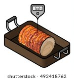 a roll of roast pork in a... | Shutterstock .eps vector #492418762
