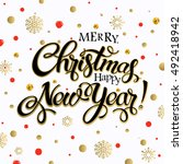 merry christmas and happy new... | Shutterstock .eps vector #492418942