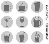 vector set of drinks icons. tea ...   Shutterstock .eps vector #492418945