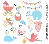 baby shower set. collection of... | Shutterstock .eps vector #492419266