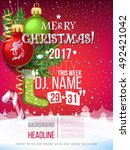 merry christmas 2017 decoration ... | Shutterstock .eps vector #492421042