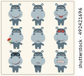 Hippo Cartoon. Vector Set...