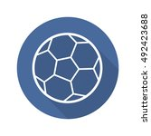 soccer ball flat linear long... | Shutterstock .eps vector #492423688