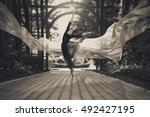 ballerina out of doors  young... | Shutterstock . vector #492427195