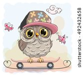 Cute Cartoon Owl On A...