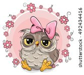 greeting card owl with flowers... | Shutterstock .eps vector #492434416