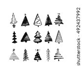 Hand Drawn Christmas Tree. Set...