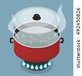 red pan with lid and boiling... | Shutterstock .eps vector #492450826