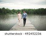 wedding couple  bride  groom... | Shutterstock . vector #492452236