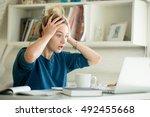 portrait of an attractive woman ... | Shutterstock . vector #492455668