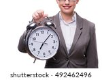 businesswoman with clock in... | Shutterstock . vector #492462496