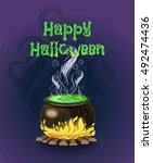 the cauldron with potion. happy ... | Shutterstock .eps vector #492474436