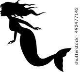 mermaid silhouette swimming | Shutterstock .eps vector #492477142