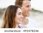 romantic young couple on the... | Shutterstock . vector #492478246