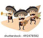 mexican mariachi band clipart | Shutterstock .eps vector #492478582