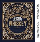 vintage label for whiskey. you... | Shutterstock .eps vector #492486445