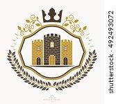 heraldic coat of arms  vintage... | Shutterstock .eps vector #492493072