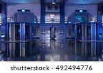3d render of sci fi hangar blue ... | Shutterstock . vector #492494776