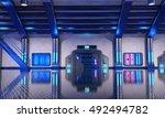 3d render of sci fi hangar blue ... | Shutterstock . vector #492494782