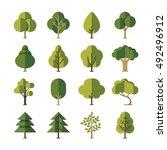 green summer forest tree flat... | Shutterstock .eps vector #492496912