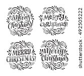 vector christmas set of... | Shutterstock .eps vector #492505222