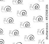 snail sketch seamless pattern.... | Shutterstock .eps vector #492508186