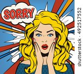 sorry. stressed beautiful girl... | Shutterstock .eps vector #492517552