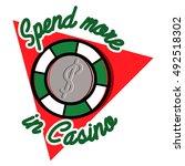 color vintage casino emblem ... | Shutterstock . vector #492518302