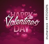 happy valentines day script... | Shutterstock .eps vector #492520696