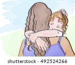 children hugs  sketch | Shutterstock .eps vector #492524266