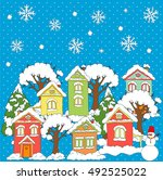 christmas and new year... | Shutterstock .eps vector #492525022