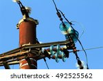 old pylon power in use ... | Shutterstock . vector #492525562
