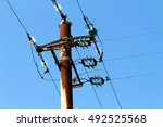 old pylon power in use ... | Shutterstock . vector #492525568
