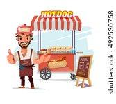 hotdog food truck. street food...   Shutterstock .eps vector #492530758
