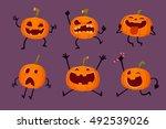 illustration set of halloween... | Shutterstock .eps vector #492539026