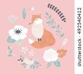 vector illustration  fox and...   Shutterstock .eps vector #492540412