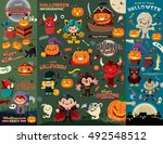 vintage halloween poster design ... | Shutterstock .eps vector #492548512