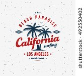 california surfing typography... | Shutterstock .eps vector #492550402