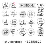 happy teacher's day labels ... | Shutterstock .eps vector #492550822