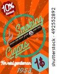 tobacco shop banner. label o... | Shutterstock . vector #492552892