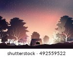 camping in deep forest when dusk | Shutterstock .eps vector #492559522