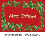 merry christmas card. vector... | Shutterstock .eps vector #492560242