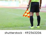 assistant referees signalling... | Shutterstock . vector #492563206